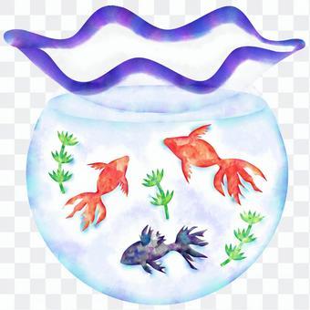 Watercolor of a fish bowl (delicate)