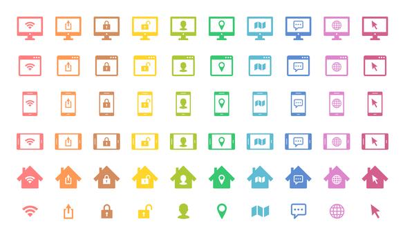 PC、智能手機、瀏覽器、房屋顏色圖標