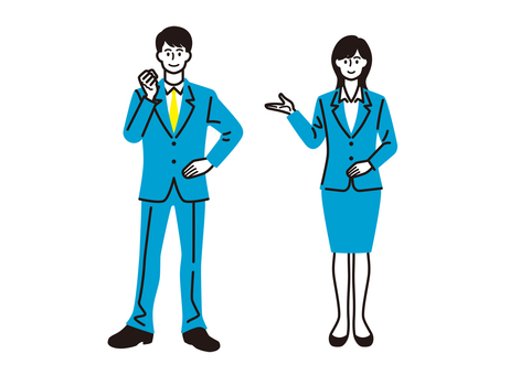 Men and women in suits (whole body)