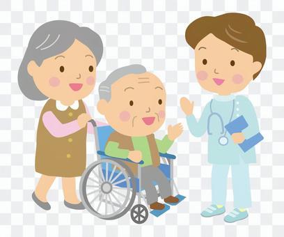 轮椅老夫妇和男医生