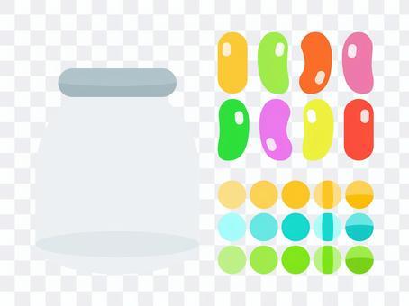 糖果和玻璃罐套裝