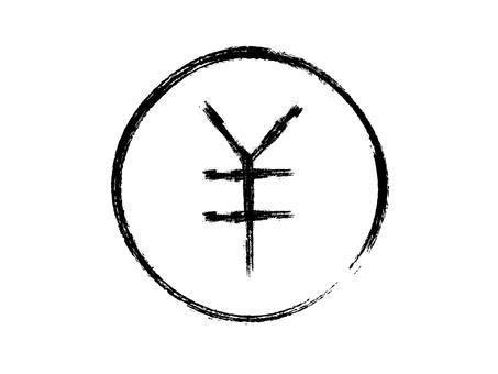 鬆散的筆刷手寫圓硬幣圖標:黑線