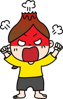 憤怒的女馬尾辮爆炸