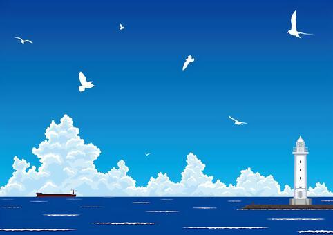 夏天的海和燈塔