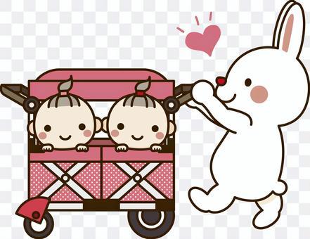 Rabbit_stroller(twin)_girl