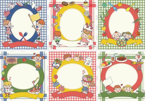 孩子們和食物框架