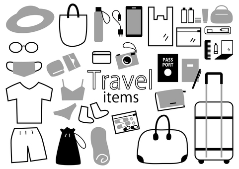Travel item illustration set_monochrome