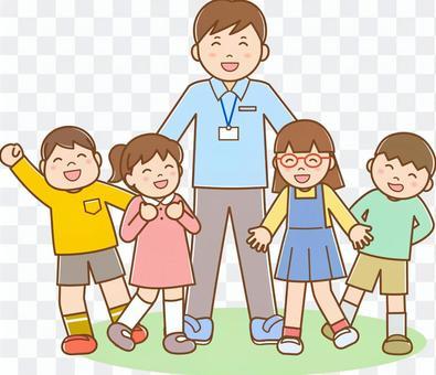 男老師和孩子們排隊