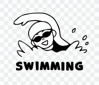 水泳する女性(シンプル)