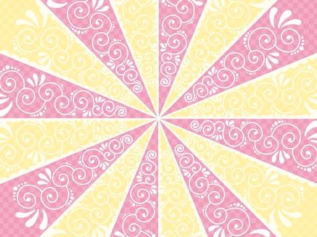 濃線背景粉色x黃色少女