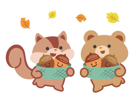 Squirrel and bear with acorns