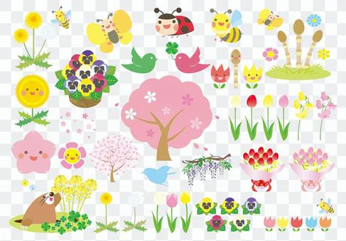 Illustration set of spring plant and creature