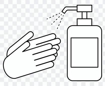 白黒のシンプルな手指のアルコール消毒