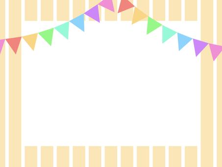 Triangular flag stripe frame B: rainbow color