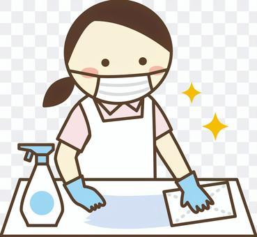 員工採取預防傳染病的措施3_桌子消毒
