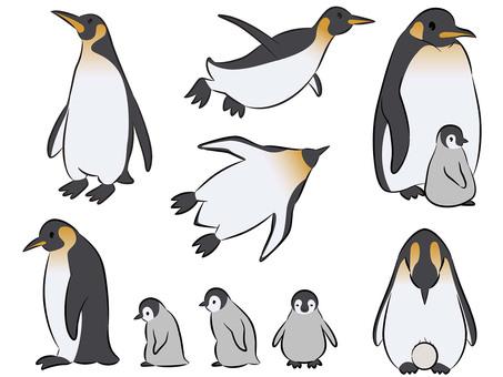 Emperor penguin pose set