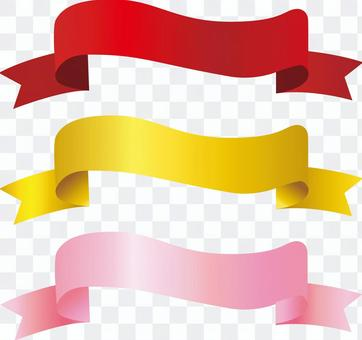 Free illustration free material golden pink red ribbon