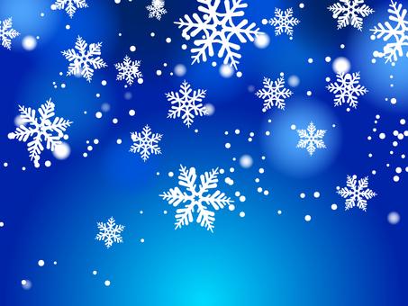 雪和雪花藍色背景