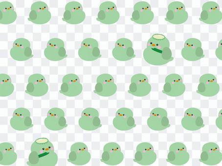 臥式壁紙小鳥遊行(綠色)