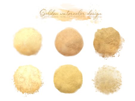 Golden watercolor icon collection