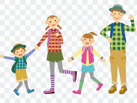 和家人一起徒步