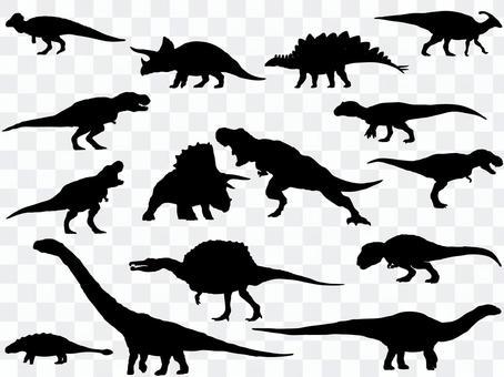 Dinosaur silhouette_set
