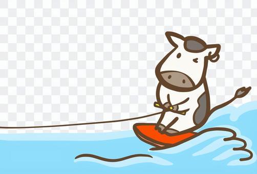 波に乗る牛 年賀状素材2021丑