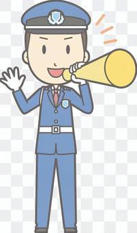 Security guard - megaphone - whole body