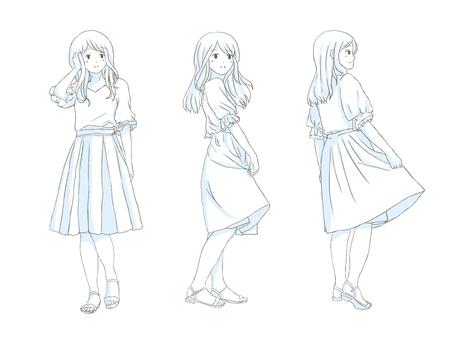 Long skirt full body set