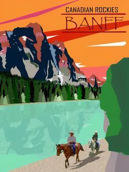 復古風格的插圖洛磯山脈