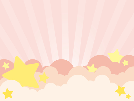 Star and cloud background pink simple radiation