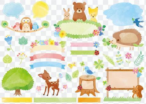 Watercolor Animal Frame Set 04 _ Plant