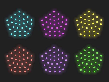 七彩五邊形照明材料