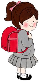 一個有書包的女孩