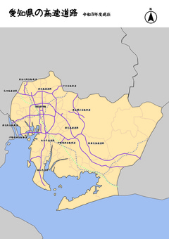 愛知縣愛知高速公路日本地圖