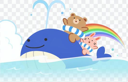 Whale, bear and rabbit swimming
