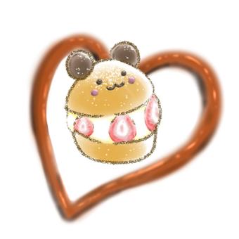 草莓 maritozzo 和巧克力的插圖
