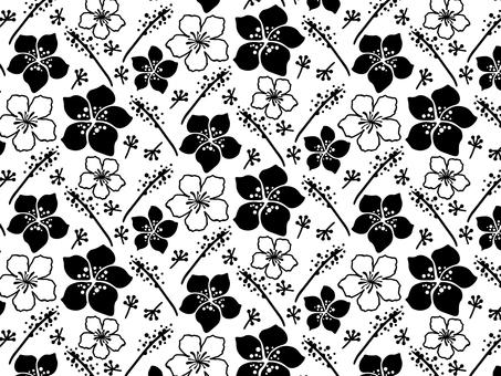 Modern floral pattern 11 black / white background
