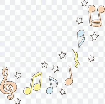 Cute music notes-pastel colors red blue yellow line available