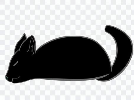 躺著的黑貓