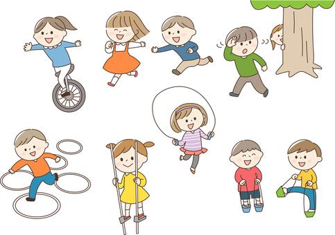 孩子們玩顏色集
