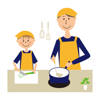 Father and boy cooking