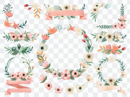 櫻花和野花的植物收藏