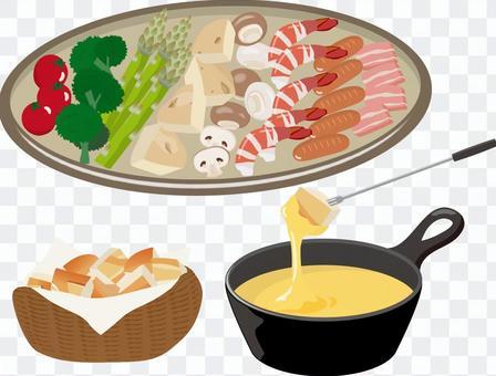 チーズフォンデュ 皿盛りパンカゴセット