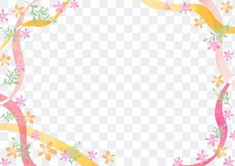 少女材料043絲帶和花框架