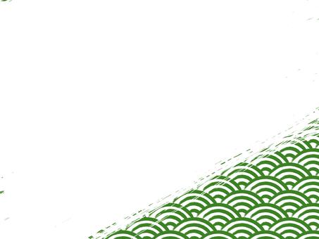 刷寫青海波浪填充背景:右下:綠x白