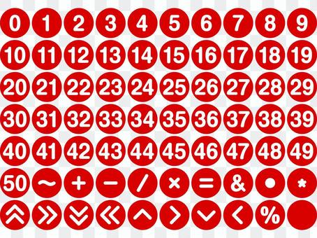 Numbers and symbol set Round (red)