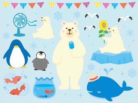 夏天的動物插圖