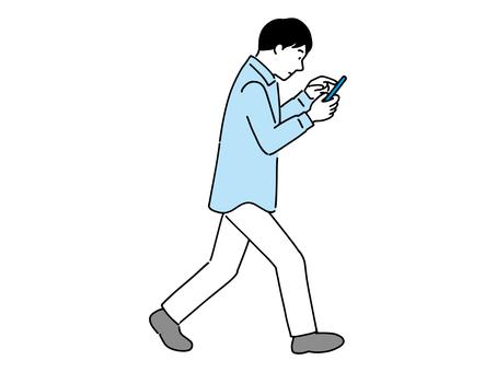 Men walking while operating a smartphone Walking smartphone