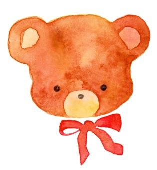 泰迪熊臉透明水彩手繪毛絨玩具